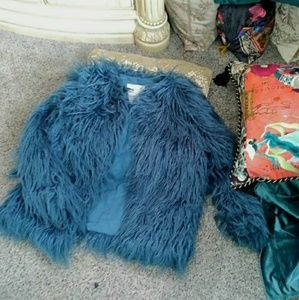 Zara Girls faux fur jacket teal blue